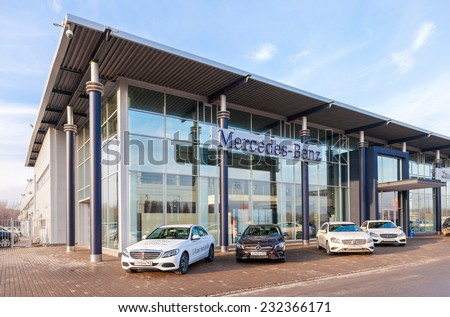 SAMARA, RUSSIA - NOVEMBER 1, 2014: Office of official dealer Mercedes-Benz. Mercedes-Benz is a German automobile manufacturer - stock photo
