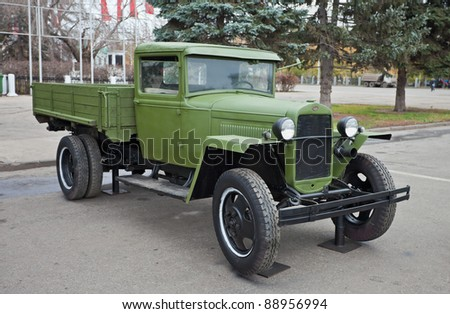 "SAMARA, RUSSIA - NOVEMBER 3: Soviet truck ""GAZ-AA"" on the exhibition on November 3, 2011 in Samara, Russia."