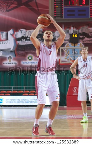 SAMARA, RUSSIA - OCTOBER 23: Viktor Zaryazhko of BC Krasnye Krylia throws from the free throw line in a game against BC Sparta and K on October 23, 2012 in Samara, Russia.