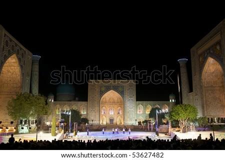 SAMARKAND, UZBEKISTAN - AUGUST 27: Jane Doe and John Doe perform on stage at Sharq Taronalari August 27, 2009 in Samarkand, Uzbekistan. - stock photo