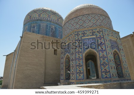 Samarkand, Uzbekistan - July 03, 2014: Shohizinda - a monument of medieval architecture. Ensemble of mausoleums of the Samarkand nobility. The complex was built in XI-XV centuries.