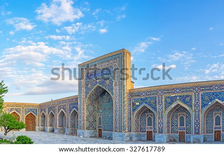 SAMARKAND, UZBEKISTAN - MAY 1, 2015: The colorful ornaments of glazed tiles are the visit card of Uzbek architecture, on May 1 in Samarkand.