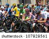 SAMATAN, FRANCE- JULY 16: Cyclists at the departure of the 15th stage of the Tour de France, from Samatan to Pau, on July 16, 2012 in Samatan, France. - stock photo