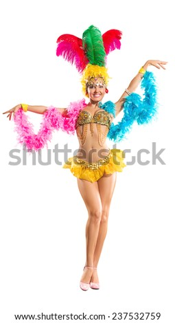 Samba dancer in traditional carnival stage costume isolated on white background - stock photo