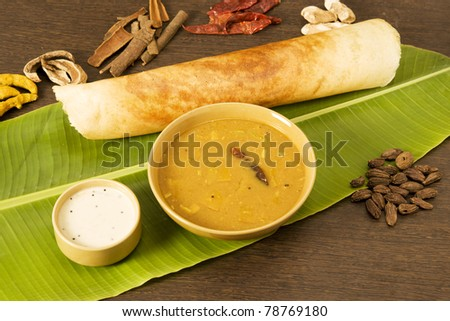 Sambar Dosa with Ingredients, South Indian Dish - stock photo