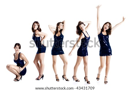 Same beautiful sexy young woman in five diferent poses - stock photo