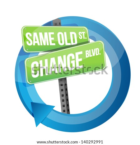 same old and change road sign cycle illustration design over white - stock photo