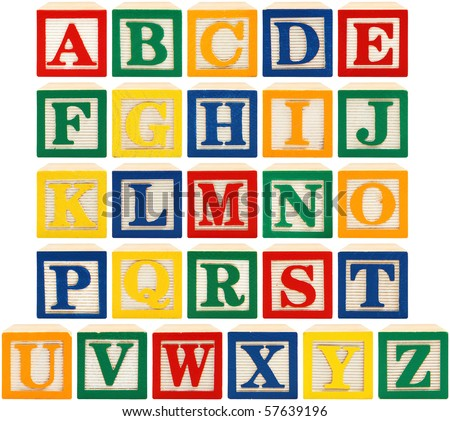 same view 26 letters of alphabet in wooden blocks