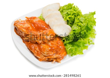 Samgyeopsal popular Korean dishes. Raw of chicken with spices cooked on the grill for roasting participants meal. From a series of Food Korean cuisine. - stock photo