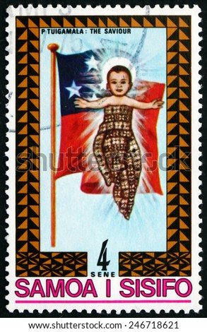 SAMOA - CIRCA 1975: a stamp printed in the Samoa shows Christ Child and Samoan Flag, Christmas, circa 1975 - stock photo