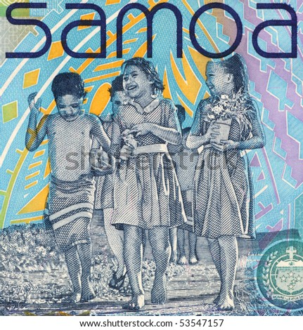 SAMOA - CIRCA 2008: Children on 10 Tala 2008 Banknote from Samoa.