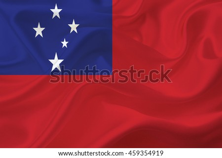 Samoa flag blowing in the wind