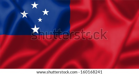 Samoa flag blowing in the wind. Background texture.