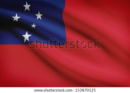 Samoan flag blowing in the wind. Part of a series.