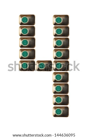 Sample four numbers of metal on a white background closeup - stock photo