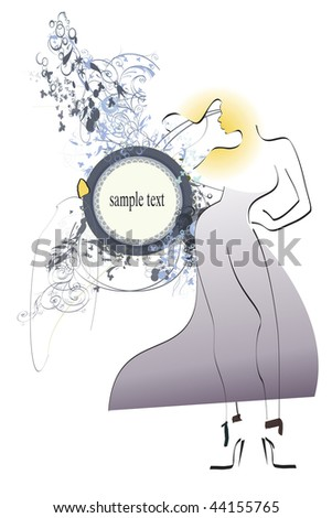 Sample illustration young adult girl - fashionable concept with space for sample text. - stock photo