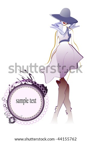 Sample illustration young adult girl with hat and space for sample text- fashionable concept. - stock photo