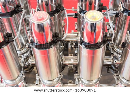 Sample machine for the production of dairy products - stock photo