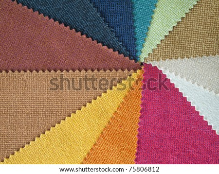 Sample multicolor fabric for making furniture - stock photo
