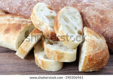 sample of baguette bread in the market place - stock photo