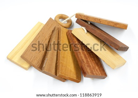 sample pieces various kind of wooden for decoration construction isolated on white background
