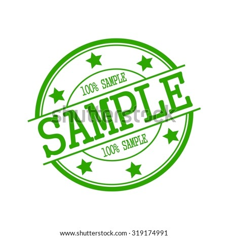 sample stamp text on green circle on a white background and star
