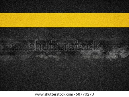 Sample wheel on the road with hot smoke - stock photo