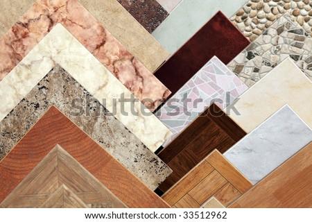 Samples of a ceramic tile in shop - stock photo