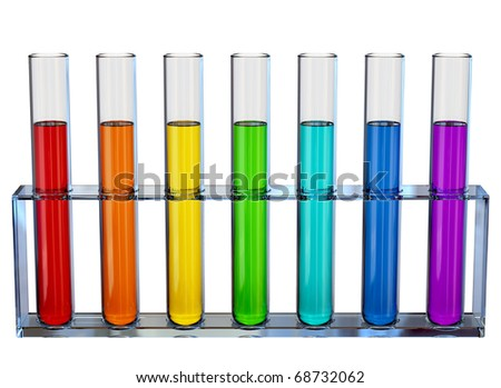 Samples of chemical liquids in the tubes for experiments