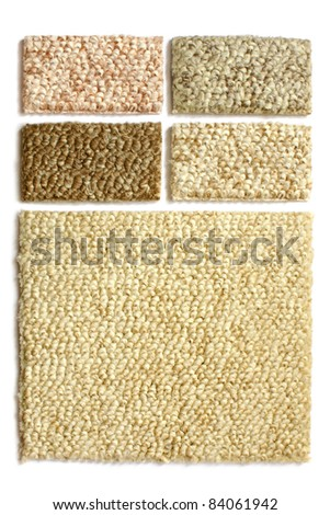Samples of collection carpet on a white background - stock photo