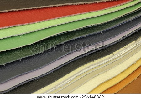 Samples of color of Leather for upholstery the furniture - stock photo