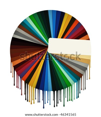 Samples of color on a white background with drops of a paint - stock photo