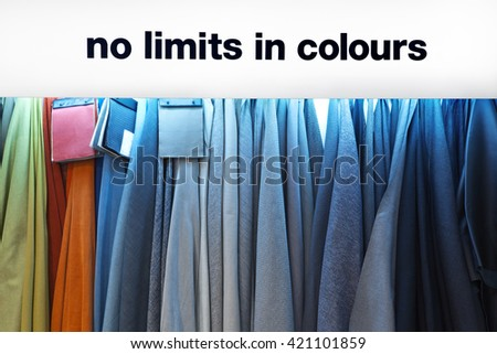 Samples of colorful fabrics - stock photo