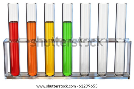 Samples of fractions of oil typed in a tube for experiments