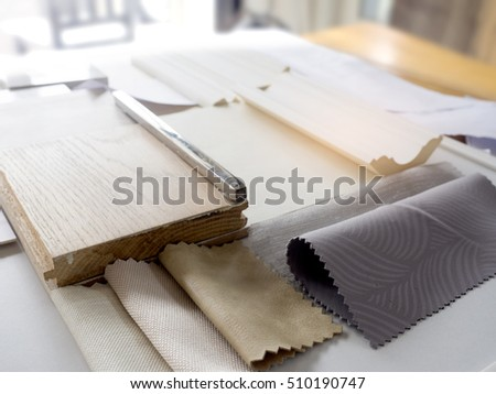 Samples Of Material Wood Color Fabric On Wooden TableInterior Design