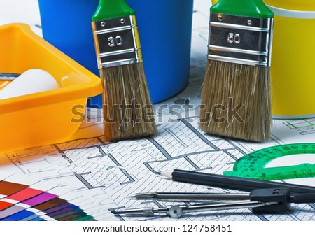 samples of materials colors, upholstery and cover the architectural drawing - stock photo