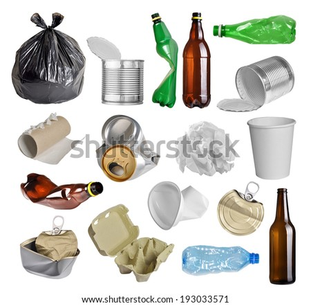 Samples of trash for recycling isolated on white background  - stock photo