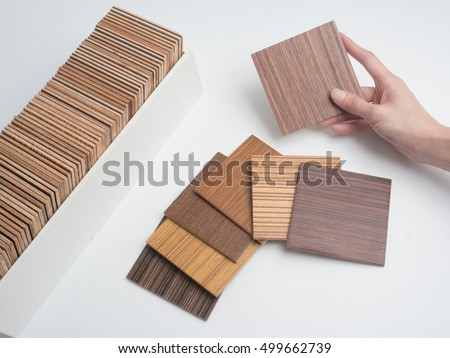 samples of veneer wood  is isolated on  white background