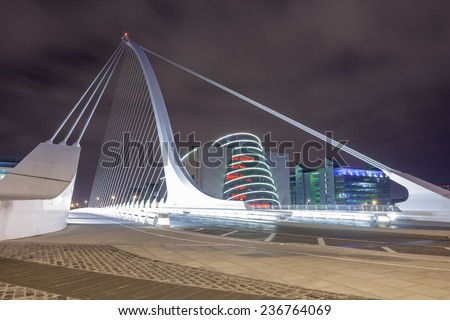 Samuel Beckett bridge at night in Dublin, Ireland - stock photo