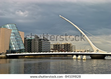 Samuel Beckett Bridge, Dublin, Ireland - pointing to Dublin Convention center - stock photo