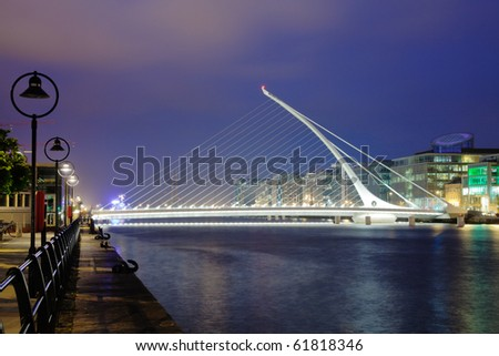 Samuel Beckett Bridge in Dublin at night (resembling harp) - stock photo