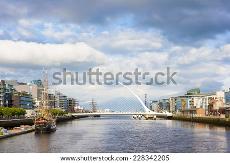 Samuel Beckett Bridge over Liffey river in Dublin - stock photo
