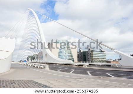 Samuel Beckett Bridge perspective in Dublin, Ireland - stock photo