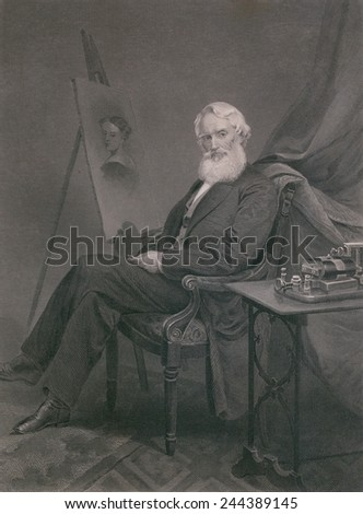Samuel F. B. Morse (1791-1872), painter and inventor of the magnetic telegraph, in old age. Ca. 1860. - stock photo