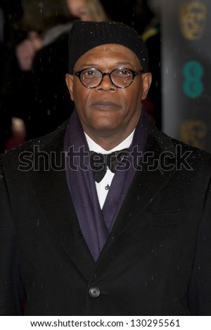 Samuel L Jackson arriving for the EE BAFTA Film Awards 2013 at the Royal Opera House, Covent Garden, London. 10/02/2013 Picture by: Simon Burchell - stock photo