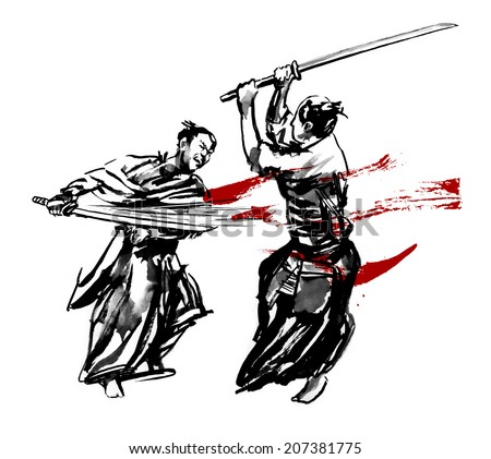 Samurai duel. Two Japanese fighting sword. Ink on paper drawing.