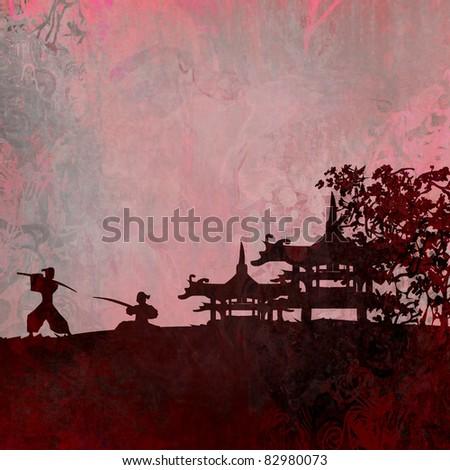 Samurai silhouette in Asian Landscape - stock photo