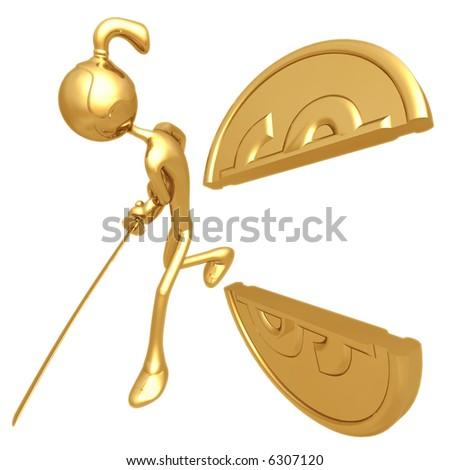 Samurai Slashing Gold Dollar Coin - stock photo