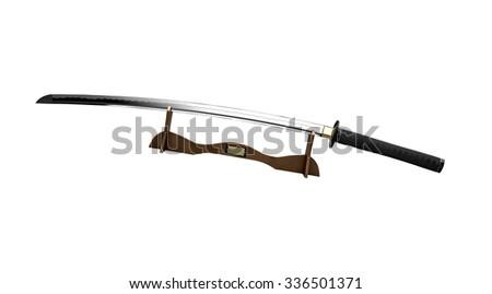 Samurai sword on a stand - stock photo