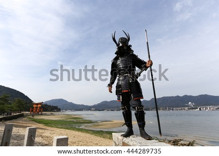 samurais in duel of Japanese - stock photo